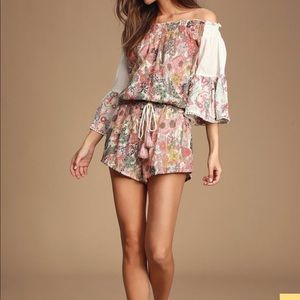 Floral cold shoulder romper, with bell sleeves